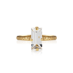 Baguette Ring / Crystal Gold