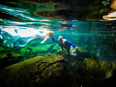Underwater Trash the Dress Tulum Mexico