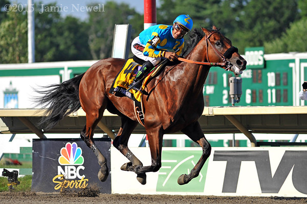 American Pharoah, with Victor Espinoza up, wins the Grade I Haskell Invitational at Monmouth Park in Oceanport, NJ. 2015