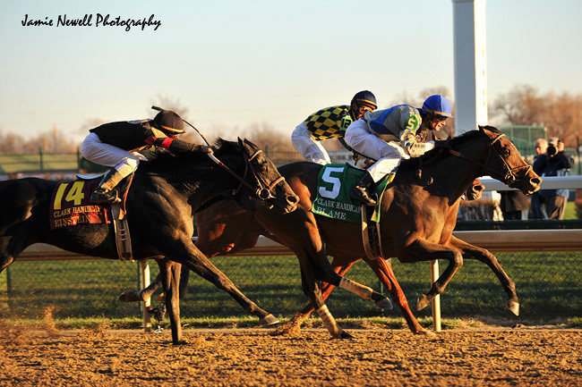 Blame wins the Grade II Clark Handicap at Churchill Downs in Louisville, KY. 11.2009