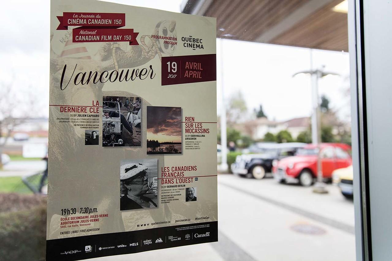 Visions Ouest productions présente La Journée du cinéma canadien 150-Volet Québec Cinéma. avec la présentation de 3 films Rien sur les mocassins suivis de Les canadiens français dans l'ouest et La dernière clé - , , Apr 19, 2017 à l'auditorium de l'Ecole Secondaire Jules VErne - Vancouver, BC, Canada - Photo Stephanie Lamy