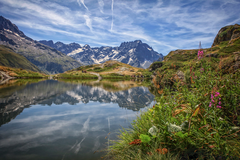 Quiet lake in the French Alps