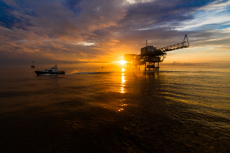 Offshore Oil rig in the sunset