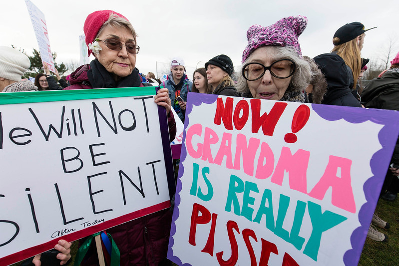 Crowd rallies at Judkins Park before marching in downtown Seattle  An estimated 120,000 people participated in the March from Judkins Park to Seattle Centre. Ten of thousands of demonstrators fill the streets heading towards downtown, on, during the Womxn