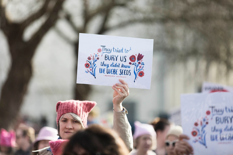 An estimated 120,000 people participated in the March from Judkins Park to Seattle Centre. Ten of thousands of demonstrators fill the streets heading towards downtown, on, during the Womxn's March in Seattle  joins forces and unites in solidarity with the