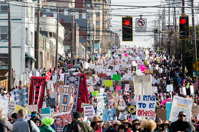 An estimated 120,000 people participated in the Womxn's March in Seattle