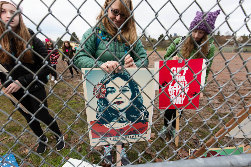 Crowd rallies at Judkins Park before marching in the Seattle Womxn's March