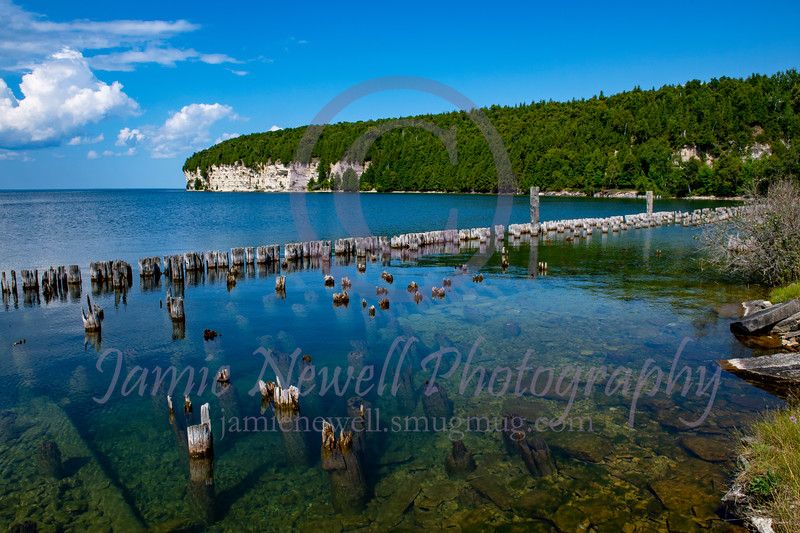 Crystal clear waters of Lake Michigan at Fayette Ghost Town