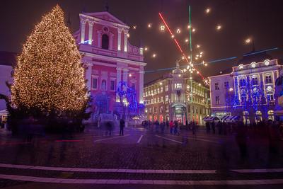 Christmas lights, Preseren Square