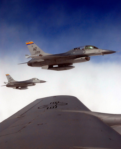 (10.14.2006)  Images from a refueling mission with the F-16's of the 162nd Fighter Wing and a KC-135 tanker from the 161st Air Reueling Wing.