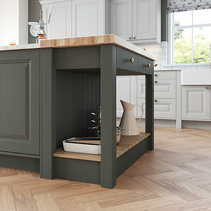 Gun Metal Grey island bench with solid oak butcher block