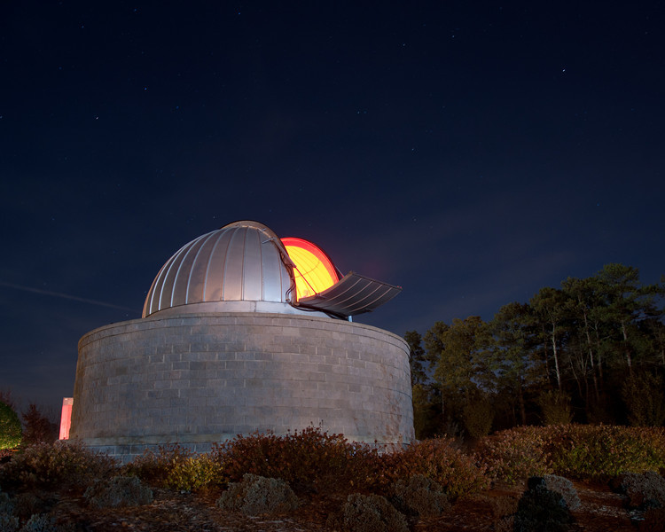 """<h3 style=""""text-align: left;""""><strong>Today's Photo:  Another Shot of the Observatory</strong></h3> Last night, Friday, was a special presentation at the Tellus Museum.  The presentation was on lasers and light in general.  However, as with most of the special events, the museum stayed open late with the observatory being open a little while longer.  We watched the last music and laser show in the planetarium and took our time leaving.  This made us next to last in line to see the telescope in the observatory.  After I finished, I had just enough time to run back to the car, get the camera and take this shot."""