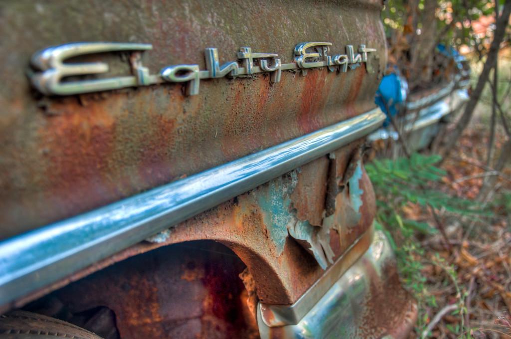 """<h3><strong>Today's Photo: Eighty Eight</strong></h3> Today brings another photo from the Old Car City USA. I was trying to remember where in the junk yard I found this, but could not. I don't think it was in the Ford or Chevy only sections. Once again my lack of car knowledge has bested me. I think the Eighty Eight is a Ford. If you know, leave a comment.  Read more at the <a href=""""http://justshootingmemories.com"""">Daily Photography Blog</a> Just Shooting Memories!..."""