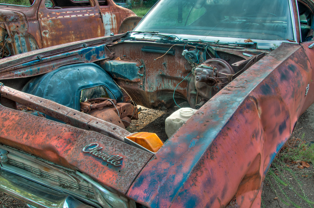 """<h3><strong>Today's Photo: Wrong, Just Plain Wrong!</strong></h3> I ran across this at Old Car City. I know, it's from a glorified junkyard remade into beautifully rusted out old piles of junk. That does not change the feeling of despair and grieving at all the potential that was just set out in the yard to rust. When I ran across this, I almost could not take any photos of it. I could not bear to see a barren gutless Chevelle. I have seen too many of these restored beauties. Too bad I don't have the time to take it home with me and bring it back to it's glory days. After morning for a few minutes, I was able to bring myself to take a couple photos of it.  Read more at the <a href=""""http://justshootingmemories.com"""">Daily Photography Blog</a> Just Shooting Memories!..."""