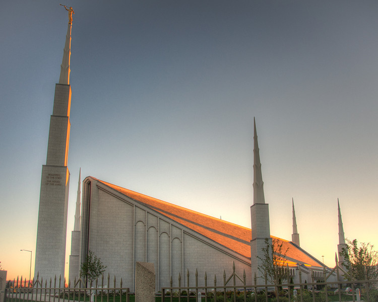 """<h3 style=""""text-align: left;""""><strong>Today's Photo:  The Church of Latter-Day Saints (Boise Temple)</strong></h3> <strong> </strong>I grew up in the deep South and there are many churches.  However, there is not a large population of Mormons.  When I visited Boise, this was my first experience with one of the large temples.  The architecture was superb and the grounds well cared for, which is exactly what I would expect from a place of worship.  I just wish there had been better clouds to go with the sunset."""