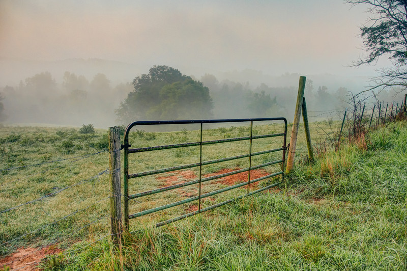 """<h3><strong>Today's Photo:  Gate to the Fog</strong></h3> I never tire of this gate or maybe it is the huge range of weather and colors that I see here.  Most of the summer, I get to see lots of fog and then in the spring and fall, I see some really crisp clouds and great colors.  This shot was in the middle of July.  I am sure it was after one of our famous night time thunderstorms.  Read more at the <a href=""""http://justshootingmemories.com"""">Daily Photography Blog</a> Just Shooting Memories!..."""