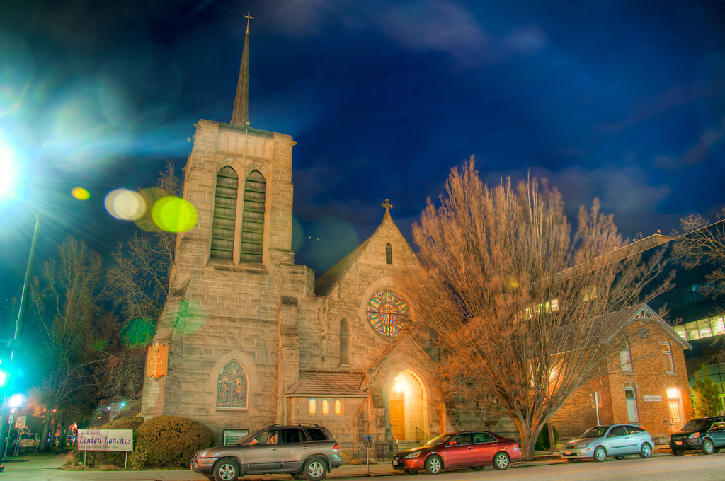 "<h3><strong>Today's Photo:  Saint Michael's Episcopal Cathedral (Boise, Idaho)</strong></h3> Continuing on my adventure finding churches to photograph, we come to Boise.  I found this little gem tucked away behind the capitol building.  When I was taking shots of the capitol, I almost decided to skip walking around to the back side.  It was so windy, I wanted to head back to the car.  I felt like I was having to lean parallel to the ground just to make any headway.  Well, when I made it into the leeward side of the capitol building, I found this church and a lot less wind.  I think it was well worth braving the elements for a few hours.  Read more at the <a href=""http://justshootingmemories.com"">Daily Photography Blog</a> Just Shooting Memories!..."