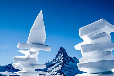 Matterhorn framed from beautiful snow sculptures