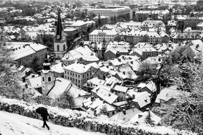 From the castle hill, winter in Ljubljana