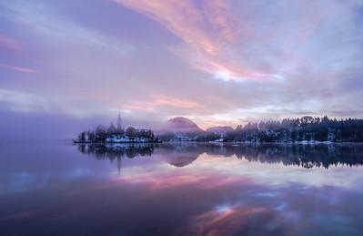 Winter sunrise at Lake Bled, Slovenia