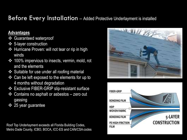 FREE WATERPROOF UNDERLAYMENT UPGRADE AT NO CHARGE