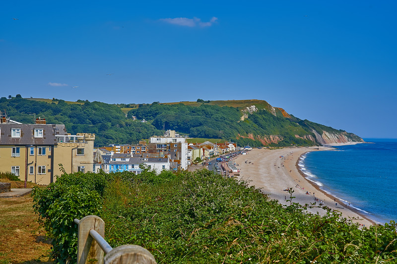 Seaton and its seafront from the cliff-top park.