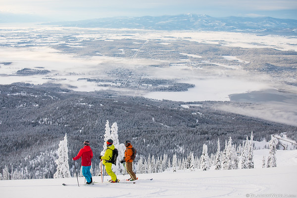 A group of skiers  at Whitefish Mountain Resort.