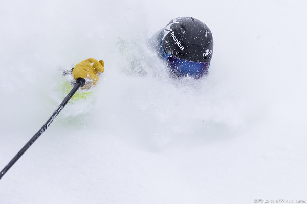 Pro skier Kyle Taylor comes up for air while skiing one the deepest lightest strom cycles to hit Whitefish, Montana. Photo - Craig Moore/GlacierWorld.com