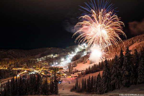 New Years Eve fireworks at Whitefish Mountain Resort.