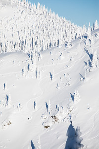 A skier in the Hellroaring Basin at Whitefish Mountain Resort.