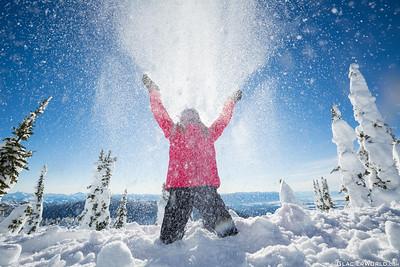 A snowboarder at Whitefish Mountain Resort.