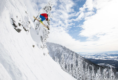A skier catching air at Whitefish Mountain Resort.