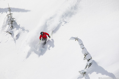 Deep powder turn at Whtiefish Mountain Resort.