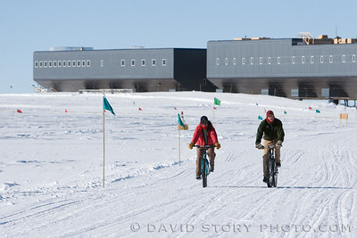 """2007 12 24: Two of the only bicycles (at the time) at Pole. They were equipped with early generation """"fat bike"""" rims. Amundsen-Scott South Pole Station, Antarctica."""
