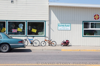 Head east at the steam engine in Columbia Falls, MT and you'll land in front of the Klothes Kloset; patrons there  include a cyclotourist in the making.