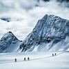 Crossing the Lyell Icefield.<br /> Athletes: Emelie Stenberg, Dave Petrik, Oleh Antonyshyn, Damir Matic and Paul Binhammer<br /> Location: Icefall Lodge, BC