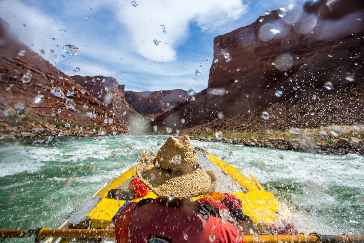 Jeff Strutz earning his stripes rowing the 'garbage barge,' one of the baggage boats, on a guided trip down the Grand Canyon.
