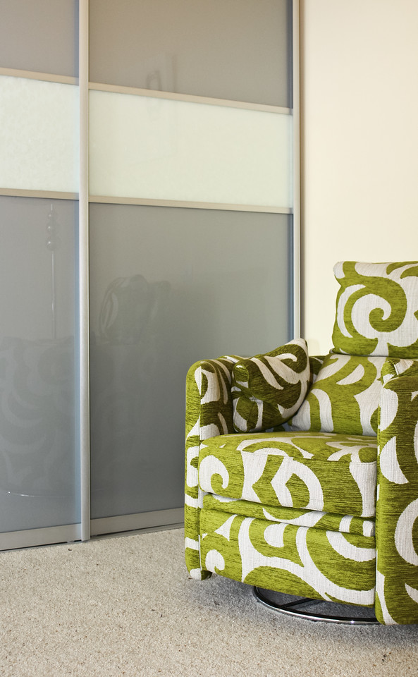 Grey and white glass door panels