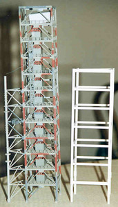 Revell tower compared to true scale LUT tower.  The Revell tower is underscale.