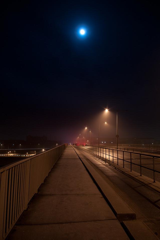Moon over bridge