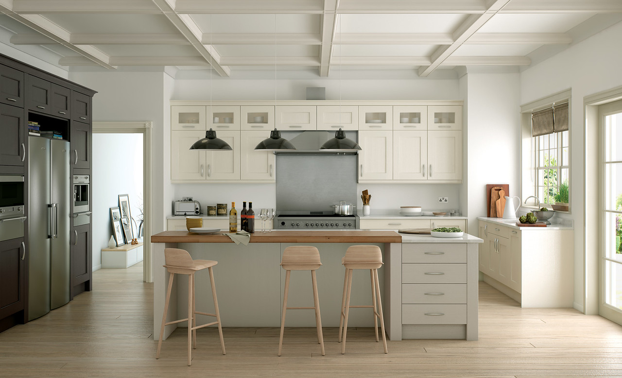 Ivory wall and base units, Lava appliance housing and Stone Island