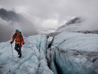 Crossing the Lyell Icefield.  Icefall Traverse, 2014