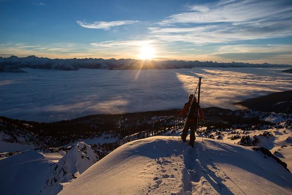 Sunrise at Selkirk Wilderness Skiing.
