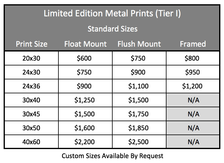 LE Metal Prints - Standard Tier 1