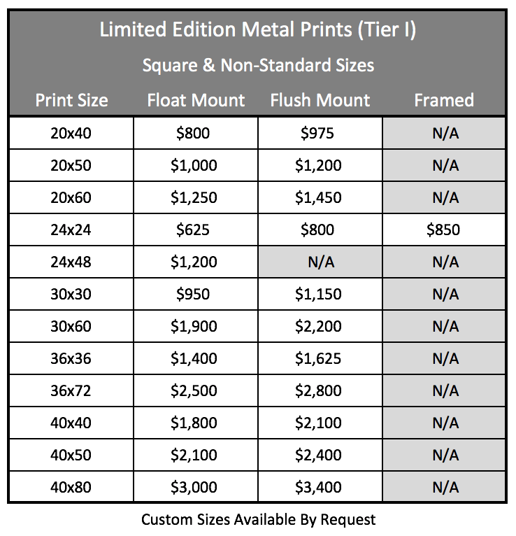 LE Metal Prints - Non-Standard Tier 1