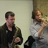 Spoke Jazz Justin Wood and Andy Hunter (IAA 95-97) perform for IAA students