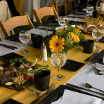 Tuscan table setting at a Cape Cod event, catered by The Casual Gourmet - The Casual Gourmet, Cape Cod Wedding Caterer