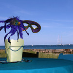 The decor from a beach side Mardi Gra themed fundraiser - The Casual Gourmet, Cape Cod Wedding Caterer