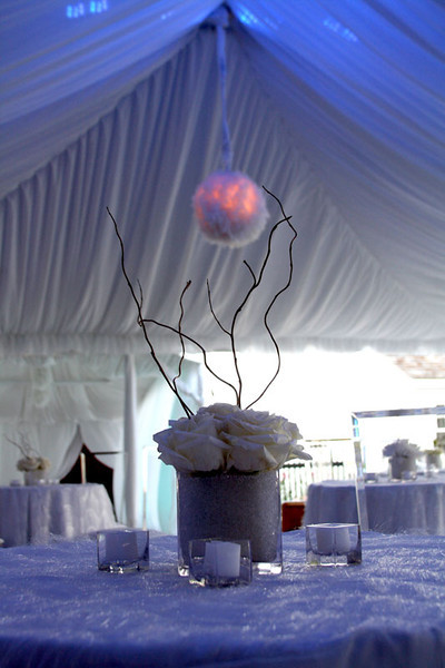 The decor at a night club themed afterparty following a wedding reception
