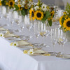 Sunflower table setting at a Cape Cod wedding.